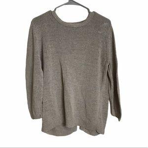 360 Sweater Crew Neck Split Back Long Sleeve